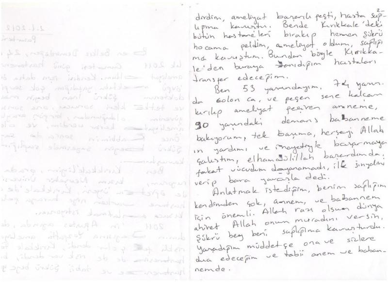 Hastanemize teşekkür mektubu...